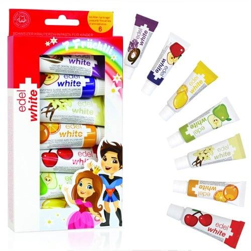 Edel White For Kids Παιδικές Οδοντόκρεμες με Φθόριο σε 7 γεύσεις, 7 x 9.45ml