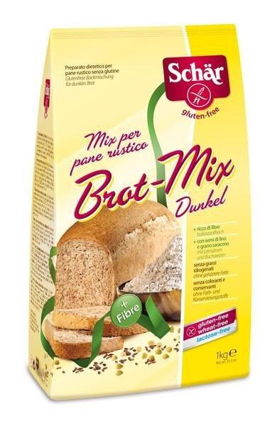 Schar Brot-Mix Dunkel Mix per pane Rustico Αλεύρι Ολικής Άλεσης για Ψωμί χωρίς Γλουτένη, 1 kg