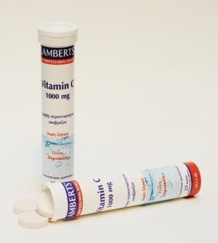 Lamberts Vitamin C 1000mg Αναβράζον, 1&1 ΔΩΡΟ, Με γεύση πορτοκάλι, απαραίτητη για ένα υγειές ανοσοποιητικό σύστημα, υγιή κόκαλα, δόντια και ούλα, 20 tabs