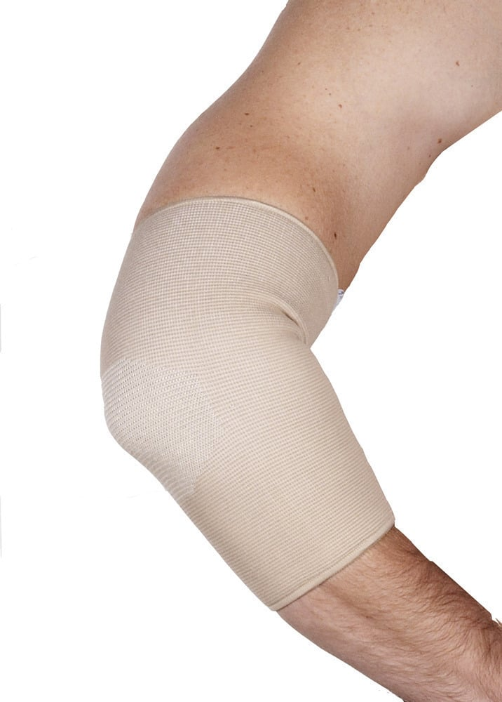 ADCO Επιαγκωνίδα Απλή Ελαστική, Από κυλινδρικό - ανατομικό πλεκτό ελαστικό ύφασμα με φάσα σιλικόνης, Κατάλληλη για ήπιες κακώσεις του αγκώνα, οιδήματα, αρθρίτιδες & πρόληψη κατά την εργασία & την άθληση,1 τεμ