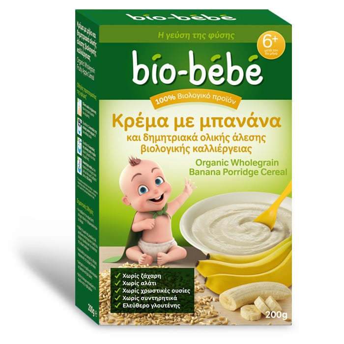 Bio Bebe Κρέμα με Μπανάνα & Δημητριακά Ολικής Άλεσης 6m+ ΜΕ -0.50€ ΜΕΙΩΜΕΝΗ ΑΡΧΙΚΗ ΤΙΜΗ , 200gr