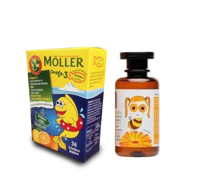 Moller's Ζελεδάκια Ω3 για Παιδιά, με γεύση Πορτοκάλι - Λεμόνι, 36 gummies & ΜΑΖΙ Apivita Eco-Baby & Kids Σαμπουάν & Αφρόλουτρο με Καλέντουλα & Μέλι, 200ml