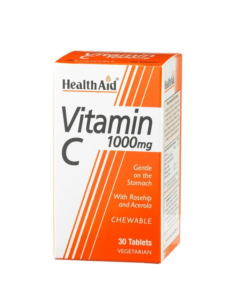 Health Aid Vitamin C 1000mg Chewable Orange Flavour Βιταμίνη C με αγριοτριανταφυλλιά & ασερόλα, 30 chew. tabs