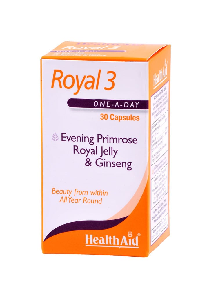 Health Aid ROYAL 3 Royal Jelly, Evening Primrose Oil & Ginseng, 30 κάψουλες