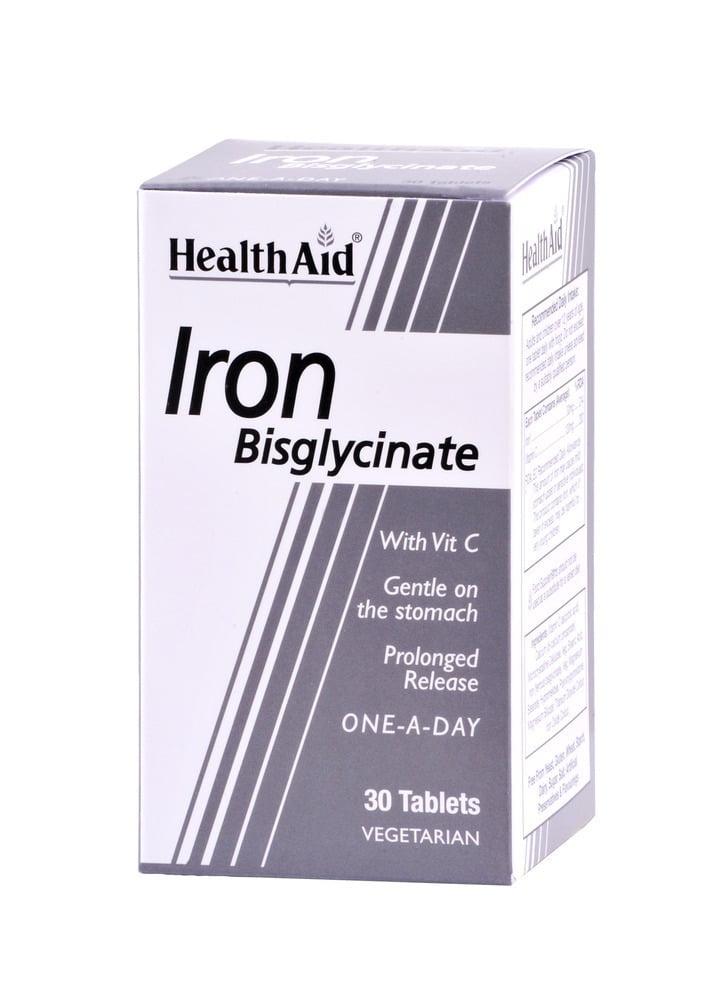 Health Aid IRΟΝ Bisglycinate with Vit C, 30 ταμπλέτες