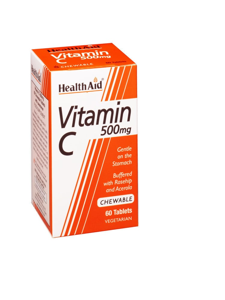 Health Aid Vitamin C 500mg with Rosehip and Acerola, 60 μασώμενες ταμπλέτες
