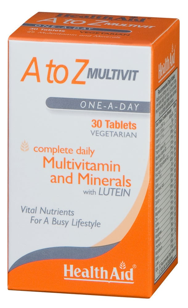 Health Aid A to Z MULTIVIT MINERALS PLUS LUTEIN, 30 ταμπλέτες