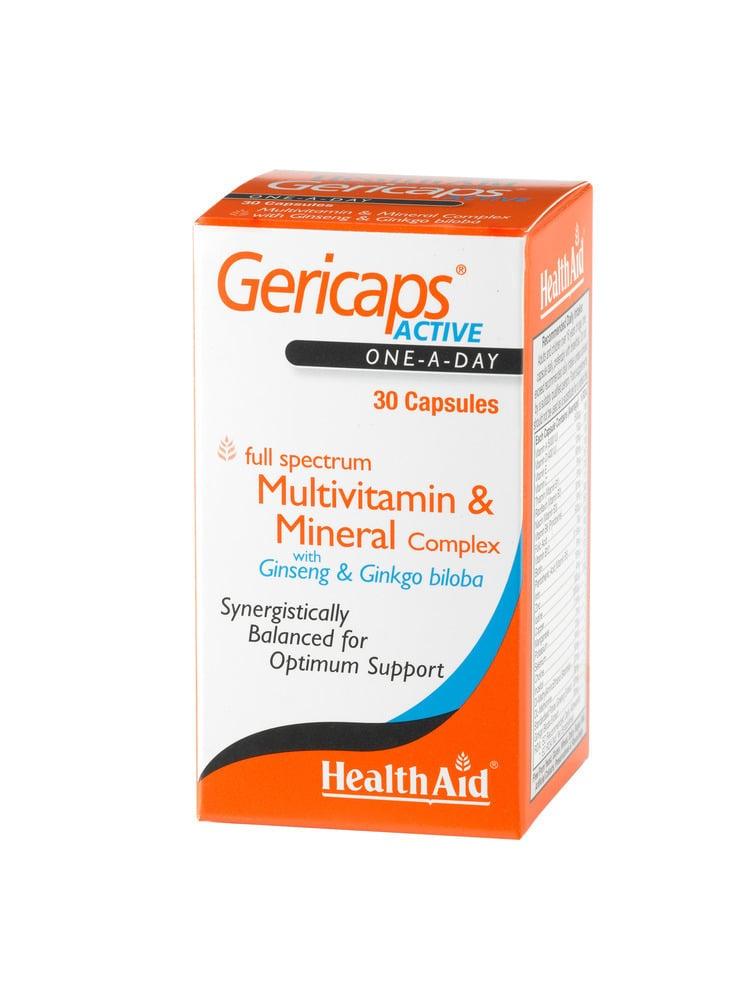 Health Aid GERICAPS ACTIVE Multivitamins, Ginseng & Ginkgo Biloba, 30 κάψουλες