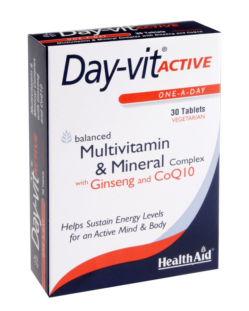 Health Aid Day-Vit Active CO Q10 & Ginseng, 30 tablets