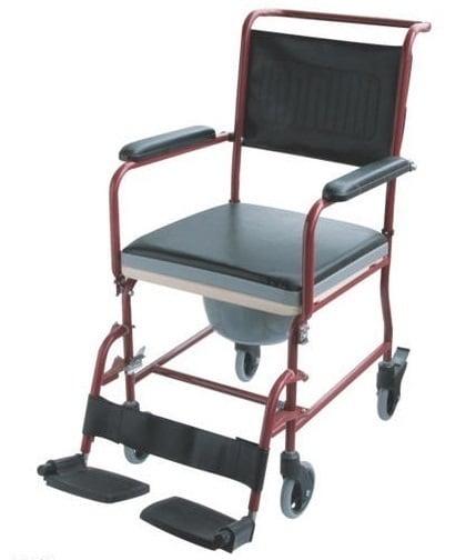 ADCO Πολυθρόνα Σταθερή (13100) με μικρούς τροχούς, με φρένα στους οπίσθιους τροχούς, προσθαφαιρούμενα πλαϊνά & κάθισμα WC, 1 τεμάχιο