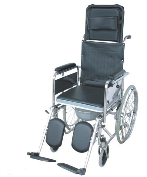 ADCO Αμαξίδιο Ειδικού Τύπου (13400) με φρένα στους οπίσθιους τροχούς, με αποσπώμενα & ανυψούμενα υποπόδια, ψηλή & ανακλινόμενη πλάτη & κάθισμα WC , 1 τεμάχιο