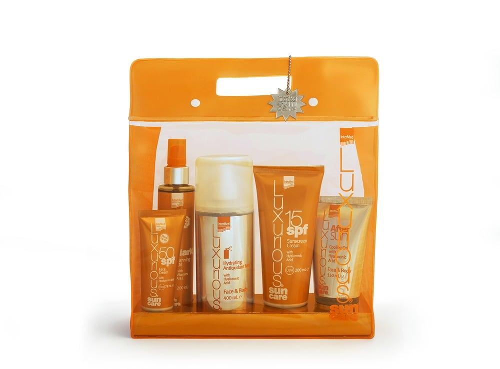 Intermed Luxurious Suncare, Πακέτο Αντιηλιακής προστασίας με Sunscreen Cream Spf 15, 200ml & Face Cream Spf 50, 75ml & Dark Tanning Oil, 200ml & After Sun Cooling Gel, 150ml & Hydrating Antioxidant Mist, 400ml