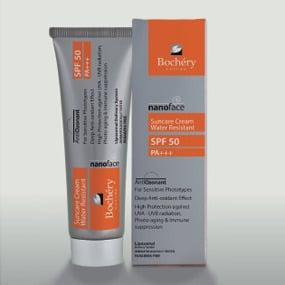 Bochery Nanoface Αντιηλιακή Κρέμα Προσώπου Αnti-Οzon SPF50, Αντιοξειδωτική προστασία, αντιγηραντικό αποτελέσμα, Προλαμβάνει τις ρυτίδες και τις κηλίδες από την έκθεση στον ήλιο, 50ml