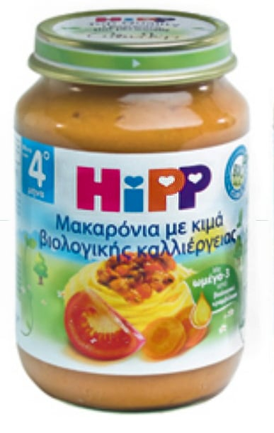 Hipp Βρεφικό Γεύμα Βιολογικής Καλλιέργειας, Μακαρόνια με Κιμά, 190 gr