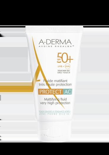 A-Derma Protect AC Fluide Matifiant Tres Haute Protection SPF50+ Αντηλιακή Κρέμα Προσώπου για Ματ Αποτέλεσμα, Πολύ Υψηλής Προστασίας για Λιπαρές & με Τάση Ακμής Επιδερμίδες, 40ml