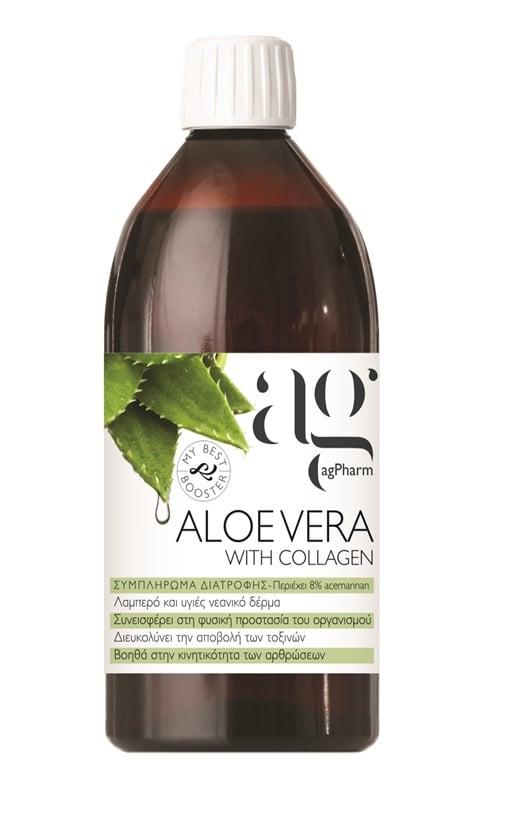 Ag Pharm Aloe Vera with Collagen Πόσιμη Aloe Vera με κολλαγόνο, 500ml