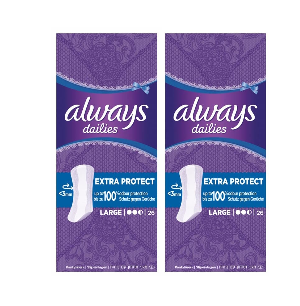 2 x Always Dailies Large Extra Protect (1+1) Panty Liners, 2 x 26 pcs