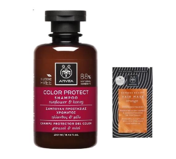 Apivita Color Protect Shampoo Σαμπουάν για Βαμμένα Μαλλιά με Ηλίανθο & Μέλι, 250ml  & ΔΩΡΟ Μάσκα Μαλλιών Με Πορτοκάλι, 20ml