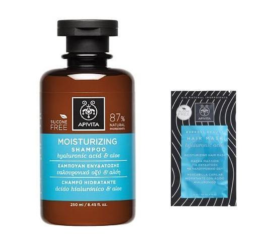 Apivita Moisturizing Shampoo Σαμπουάν Ενυδάτωσης με Υαλουρονικό Οξύ & Αλόη, 250ml & ΔΩΡΟ Moisturizing Hair Mask Μάσκα Μαλλιών για Ενυδάτωση με υαλουρονικό οξύ, 20ml