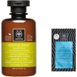 Apivita Gentle Daily Shampoo Απαλό Σαμπουάν για Καθημερινή Χρήση με Χαμομήλι & Μέλι, 250ml & ΔΩΡΟ Μάσκα Μαλλιών Με Υαλουρονικό Οξύ, 20ml