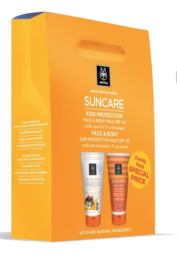 Apivita FAMILY PACK with Apivita Suncare Kids Protection Face & Body Milk SPF50, 150ml & Apivita Suncare Face & Body SPF30, 150ml