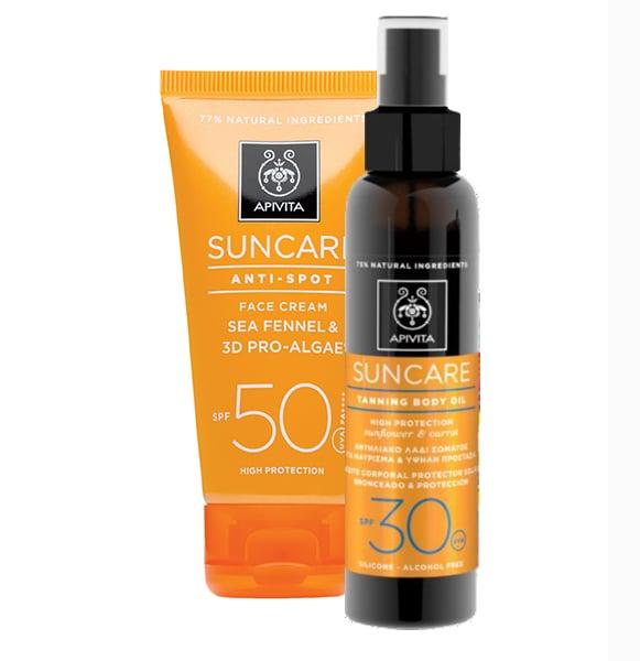 Apivita Suncare Anti Spot SPF50 Αντιηλιακή Κρέμα Προσώπου κατά των πανάδων με Κρίταμο & 3D Pro - Algae, 50ml & ΜΑΖΙ Apivita Suncare Tanning Body Oil SPF30 Αντιηλιακό Λάδι Σώματος για μαύρισμα με Καρότο & Ηλίανθο, 150ml