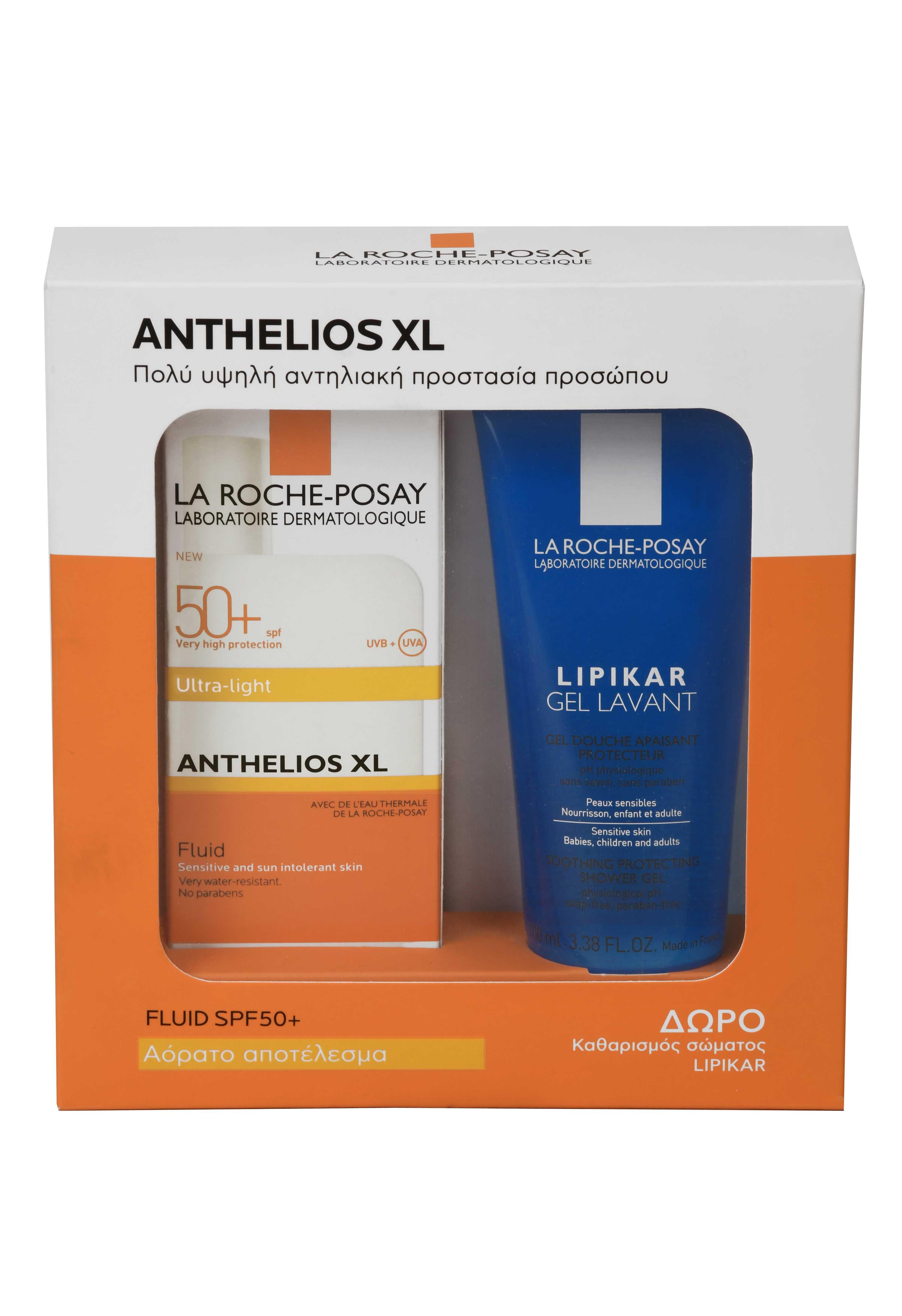 La Roche Posay Anthelios XL Fluide SPF 50+ Λεπτόρρευστη Αντηλιακή Κρέμα Προσώπου με Άρωμα, 50ml & ΔΩΡΟ Lipikar Gel Lavant Απαλός Καθαρισμός Σώματος, 100ml