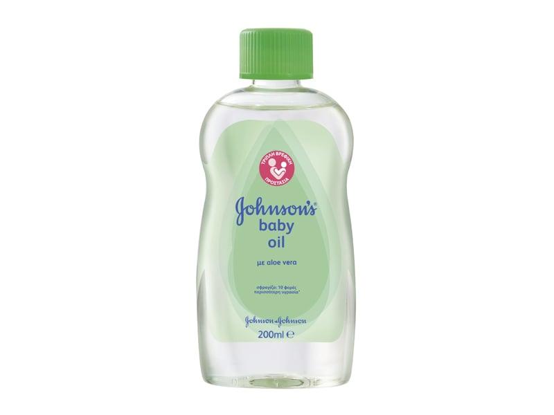 Johnson's Baby Oil Aloe Ενυδατικό Λάδι με Αλόη, 200ml
