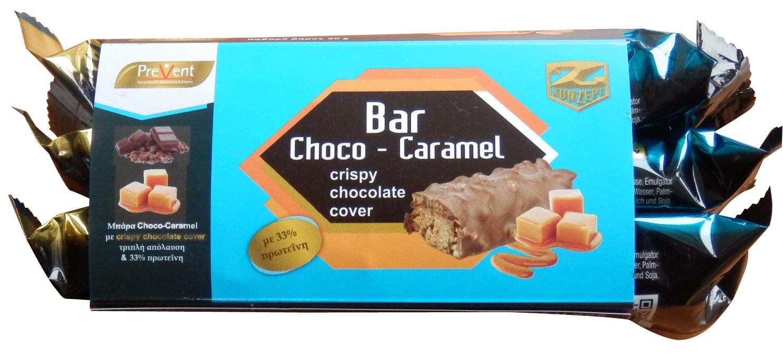 3 x Prevent Crunch Protein Bar 33% Choco Caramel Υποκατάστατο Γεύματος σε Μπάρα, με γεύση Σοκολάτα Καραμέλα, 3 x 50gr