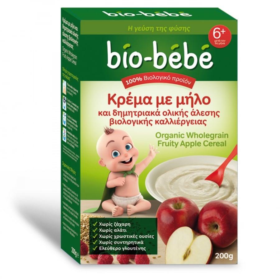 Bio Bebe Κρέμα με Μήλο & Δημητριακά Ολικής Άλεσης 6m+ ΜΕ -0.50€ ΜΕΙΩΜΕΝΗ ΑΡΧΙΚΗ ΤΙΜΗ , 200gr