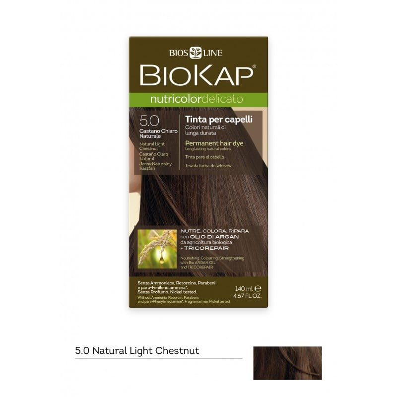 Biokap Nutricolor Delicato No 5.0 Natural Light Chestnut Βαφή Μαλλιών, 140ml