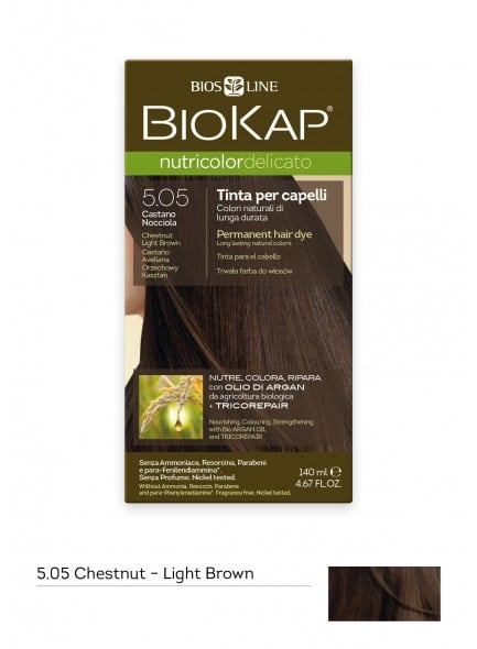 Biokap Nutricolor Delicato No 5.05 Chestnut Light Brown Βαφή Μαλλιών, 140ml