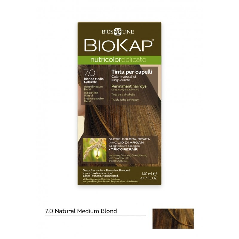 Biokap Nutricolor Delicato No 7.0 Natural Medium Blond Βαφή Μαλλιών, 140ml