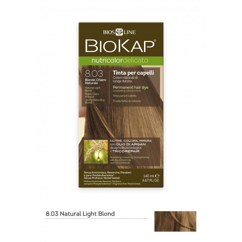 Biokap Nutricolor Delicato No 8.03 Natural Light Blond Βαφή Μαλλιών, 140ml