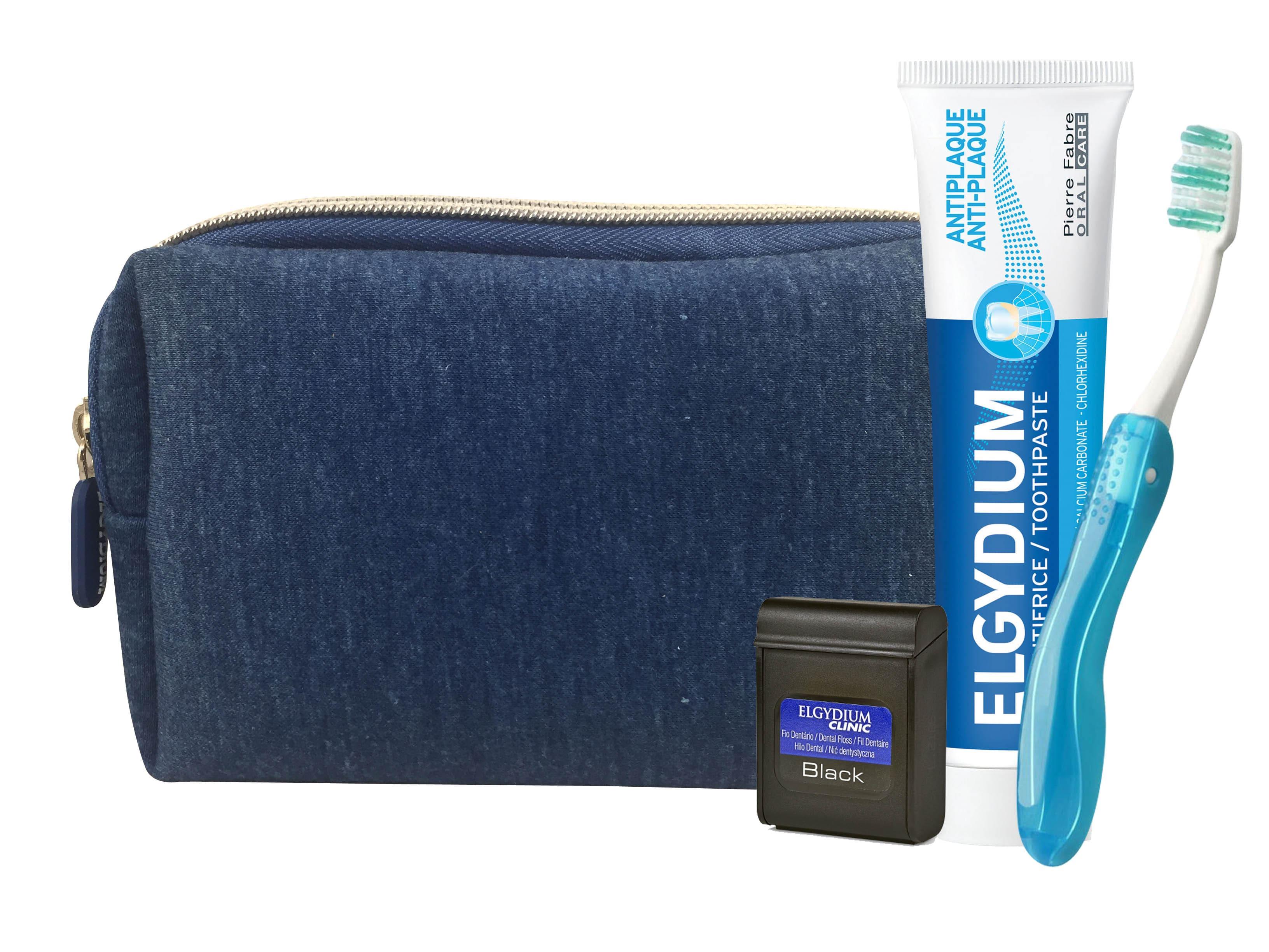 Elgydium Dental Travel Kit με Elgydium Pocket Οδοντόβουρτσα Ταξιδίου, 1 τεμάχιο, Antiplaque Οδοντόκρεμα κατά της πλάκας, 50ml & Dental Floss Black Οδοντικό Νήμα με Μαύρο Χρώμα, 5m σε μπλε τσαντάκι μεταφοράς