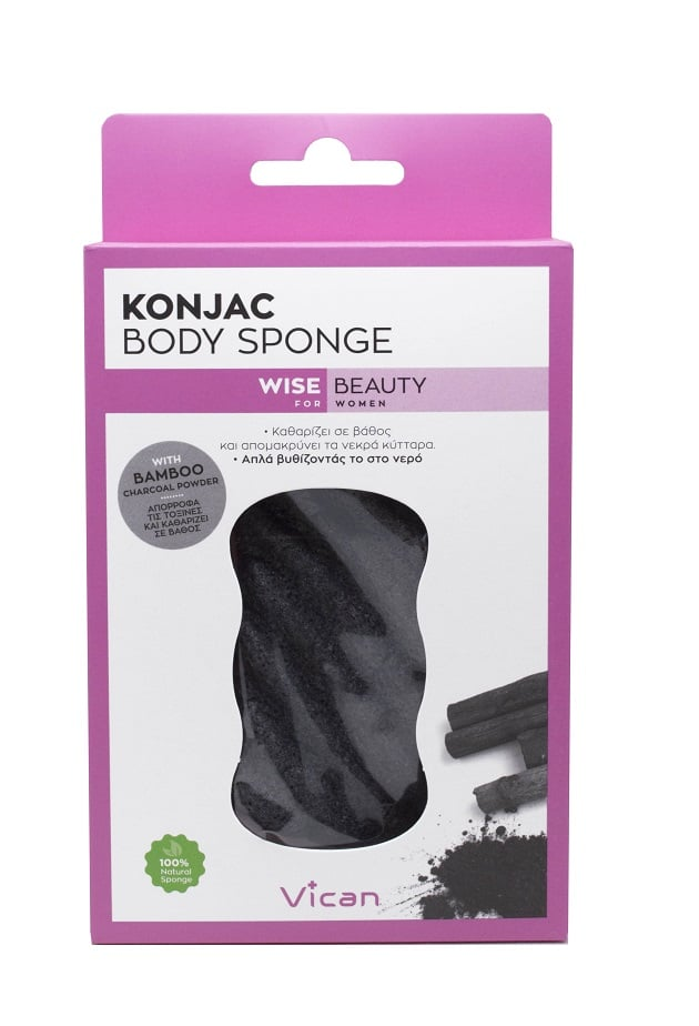 Vican Wise Beauty Body Konjac Sponge Bamboo charcoal powder Σφουγγάρι Καθαρισμού, 1 τεμάχιο