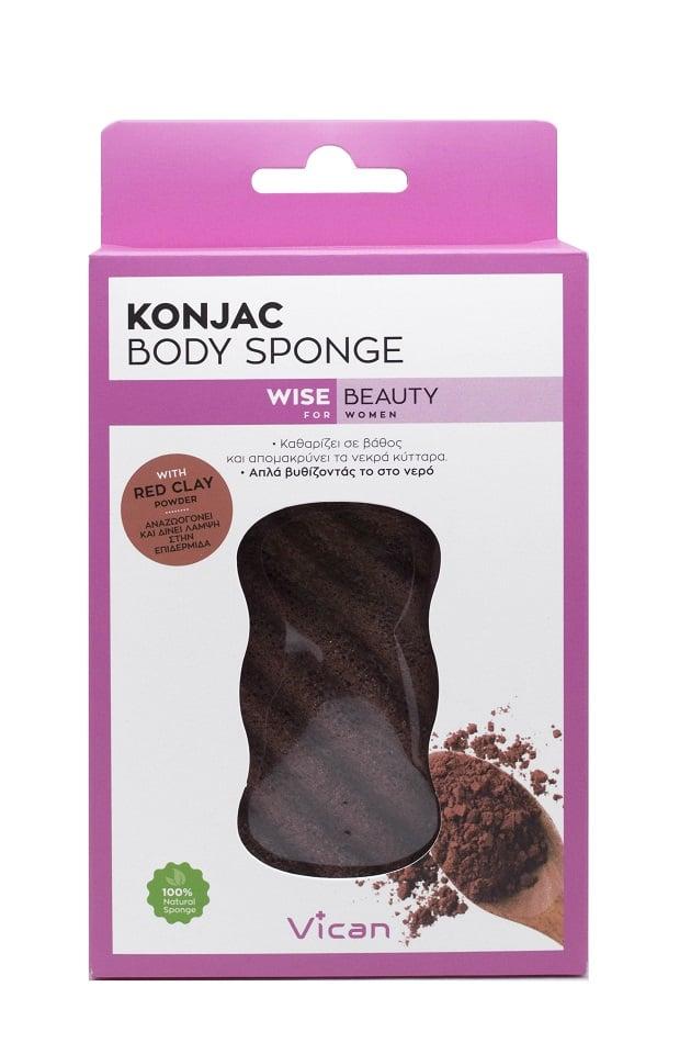 Vican Wise Beauty Body Konjac Sponge Red Clay Powder Σφουγγάρι Καθαρισμού, 1 τεμάχιο
