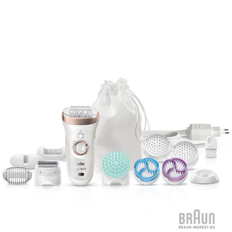 Braun SE9-961V Silk Epil 9 Wet & Dry Skin Spa Αποτριχωτική Μηχανή, 1 τεμάχιο & 10 εξαρτήματα