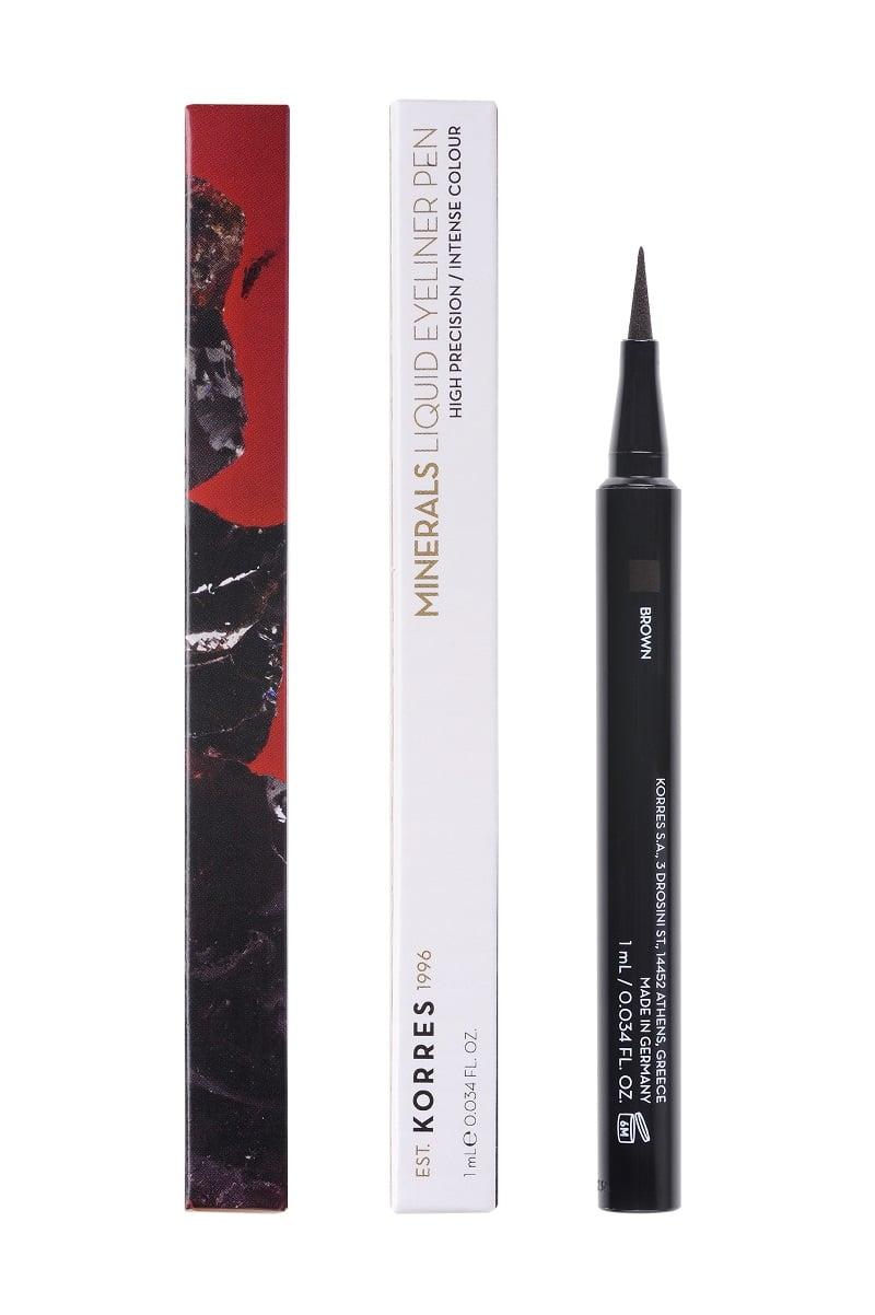 Korres Minerals Αδιάβροχο Eyeliner σε μορφή μαρκαδόρου 02 Brown, 1τμχ