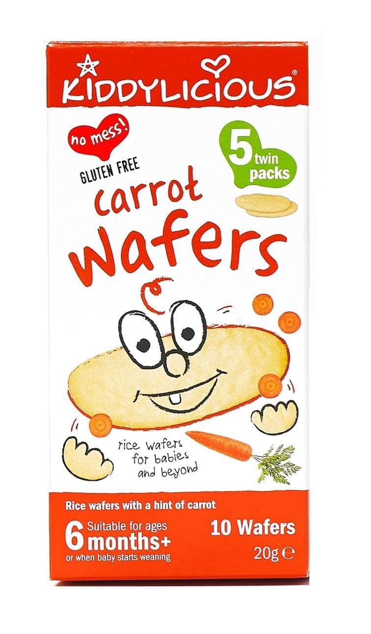 Kiddylicious Carrot Wafers 6m+ Ρυζογκοφρέτα Καρότο, 20gr - 10 τεμάχια