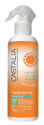 Castalia Helioderm Velvet Mist SPF50+ Αντηλιακό Spray προσώπου & σώματος με διάφανη, μη λιπαρή, βελούδινη υφή, 300ml