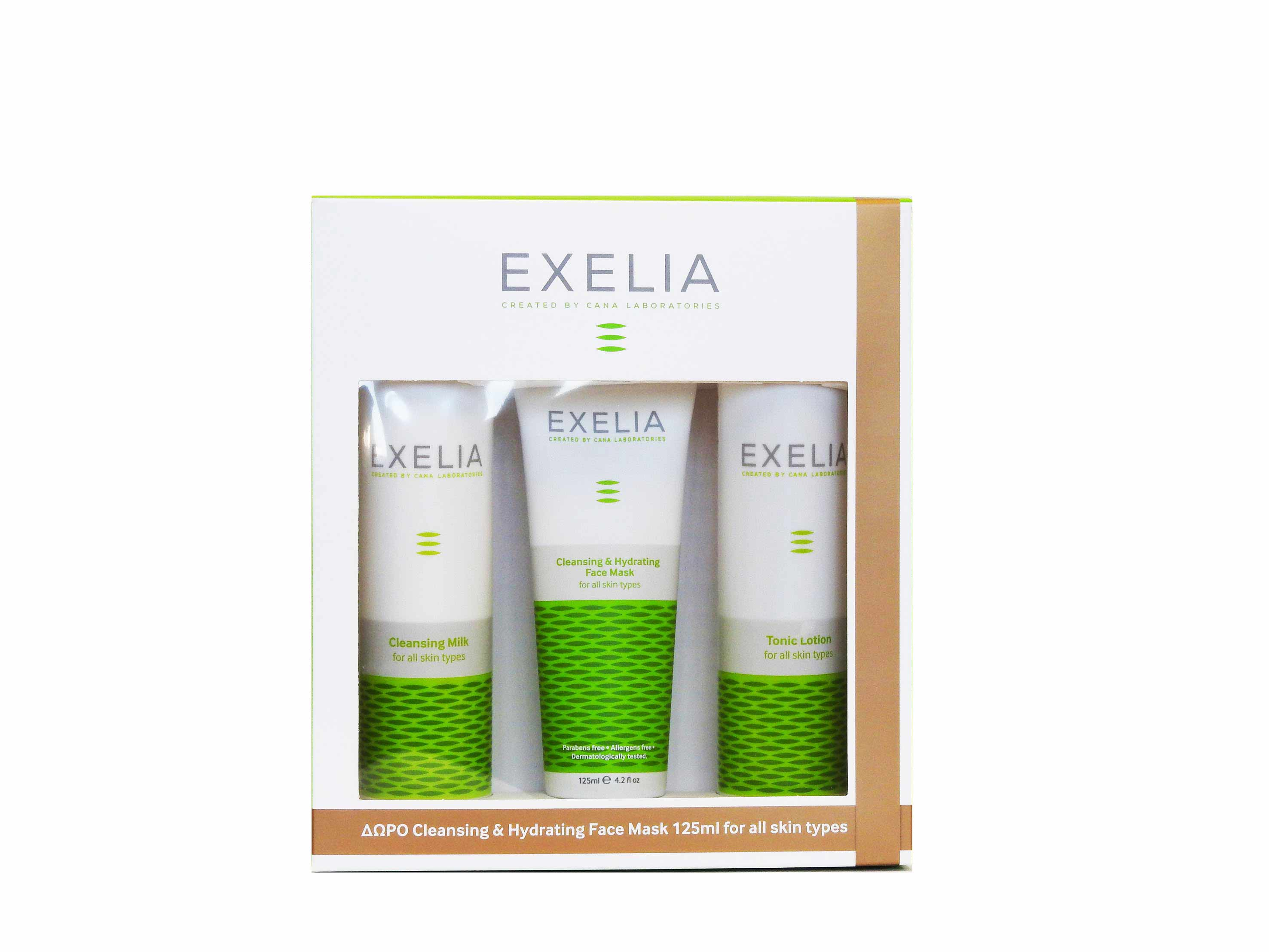 Exelia ΠΑΚΕΤΟ ΠΡΟΣΦΟΡΑΣ με Cleansing Milk 200ml, Tonic Lotion, 200ml & ΔΩΡΟ Cleansing & Hydrating Face Mask, 125ml