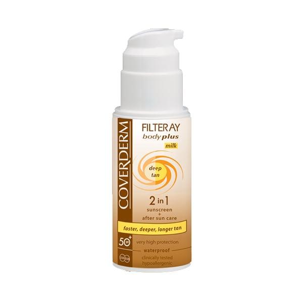 Coverderm Filteray Body Plus Deep Tan Milk SPF50+ & After Sun(2σε1) Αντιηλιακό Γαλάκτωμα Επιτάχυνσης Μαυρίσματος για Σώμα, 100ml