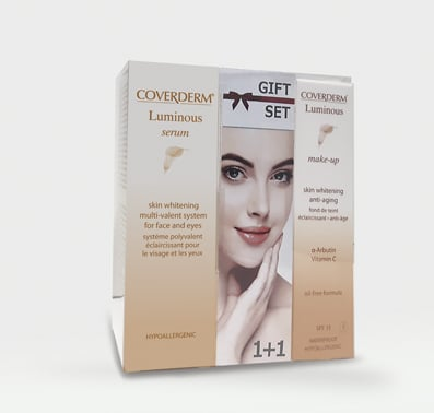 Coverderm GIFT SET με Luminous Serum Λευκαντικός Ορός για φακίδες, πανάδες & δυσχρωμίες, 20ml & ΔΩΡΟ Luminous Make Up SPF15 No.2 αδιάβροχο & μακράς διάρκειας Make Up, 30ml