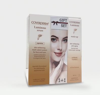 Coverderm GIFT SET με Luminous Serum Supreme Λευκαντικός Ορός Ιδανικός για το Σκουρόχρωμο & με Έντονες Δυσχρωμίες Δέρμα, 20ml & ΔΩΡΟ Luminous Make Up SPF15No.4 αδιάβροχο & μακράς διάρκειας Make Up, 30ml