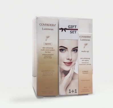 Coverderm GIFT SET με Luminous Supreme SPF15 Λευκαντική & Αντιγηραντική Κρέμα Ημέρας για το πρόσωπο, 30ml & ΔΩΡΟ Luminous Make Up SPF15 No.3 αδιάβροχο & μακράς διάρκειας Make Up, 30ml