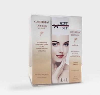 Coverderm GIFT SET με Luminous Tri-actif Λευκαντική, Αντιρυτιδική & Αντιγηραντική περιποίηση νύχτας, 30ml & ΔΩΡΟ Luminous Make Up SPF15 No.2 αδιάβροχο & μακράς διάρκειας Make Up, 30ml