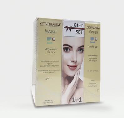 Coverderm GIFT SET με Vanish Day Cream Κρέμα Ημέρας που μειώνει Ευρυαγγείες & Κοκκινίλες, 30ml & ΔΩΡΟ Vanish SPF15 Αδιάβροχο Make Up Νο. 3, 30ml