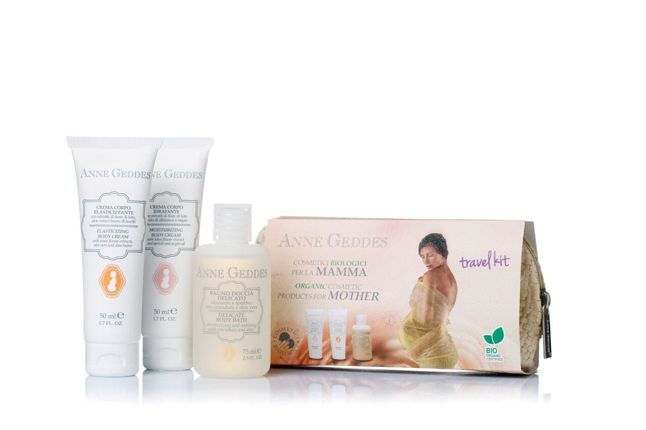 Anne Geddes Travel Kit Κρέμα ελαστικότητας & πρόληψης Ραγάδων, 50ml & Ενυδατική & Αναπλαστική κρέμα σώματος, 50ml & Αφρόλουτρο με φυτικά εκχυλίσματα, 75ml