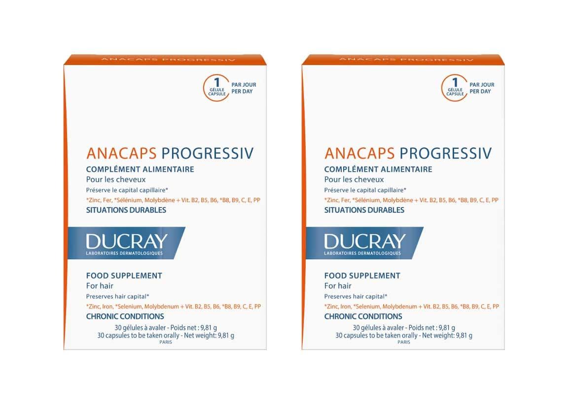 2x Ducray Anacaps Progressiv PROMO -20% Συμπλήρωμα Διατροφής κατά της προοδευτικής Τριχόπτωσης, 2x 30 caps